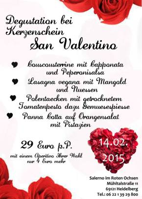 Veganes Valentinsmenu im Salerno im RotenOchsen